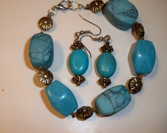 Silver & Turquoise Bracelet, Silver and Turquoise Earrings, Turquoise Blue Bracelet and Earrings Set, Upcycled from Vintage Monet Necklace
