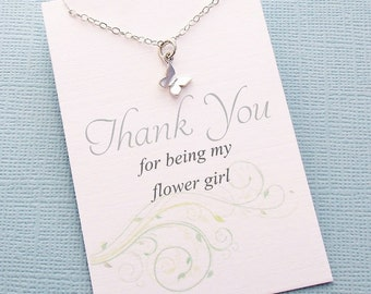 Flower Girl Gifts | TinyButterfly Necklace, Flower Girl Necklace, Flower Girl Jewelry, Botanical Jewelry, Bridal Party Gifts, Wedding | B02