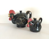 1940's Redware Rooster Teapot and Sugar Bowl Pair Handpainted Ridged Comb, Antique Cottage Decor
