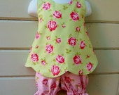 Retro Pinafore with Bloomers for Toddler Size 6-12 months Ready to Ship