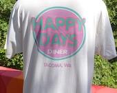 vintage 80s t-shirt HAPPY DAYS diner tacoma washington restaurant soft paper thin tee Large