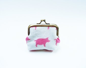 Coin purse, pink and white pig fabric, cotton purse