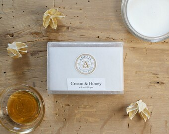 Cream and Honey Soap | Oatmeal Soap, Honey Soap, Bath and Body Soap, Vegan Soap, Vanilla Bean, Gift Idea for Women Men Friends Him Her