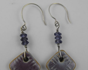 Amethyst Moon Sterling Silver and Glazed Ceramic Earrings