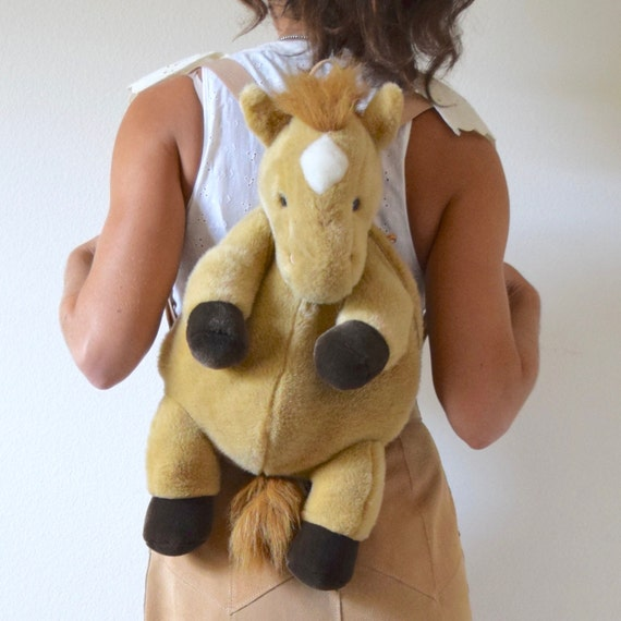 Vintage 90s Plush Pony Backpack