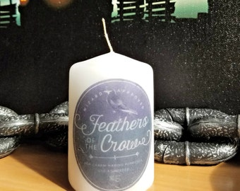 Feathers of the Crow Apothecary Bottle Label 2x3 Pillar Candle