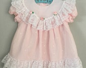 RESERVED 80s 90s Pale Pink Lacy Girls Dress Size 18 months