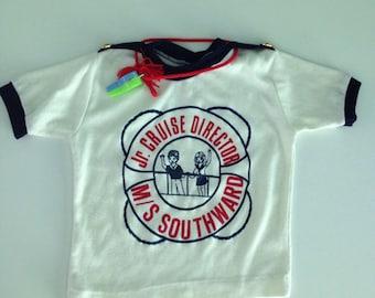 Vintage 70s Jr. Cruise Director Nautical Kids Tshirt 2t