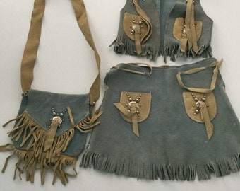 Vintage Blue Suede Cowgirl Costume Outfit