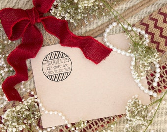 Clear Block Candy Cane Holiday Return Address Stamp