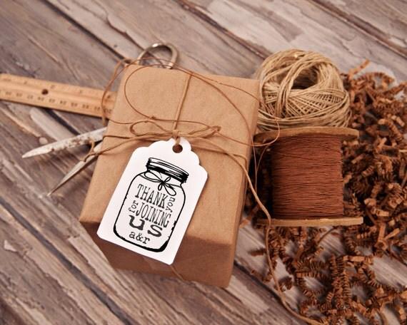 Mason Jar Thank you rubber stamp for DIY personalized wedding favors, Custom Wedding Tags, Personalized Wedding, 2 x 3 --13048-CB18-000