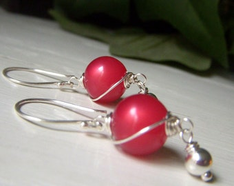 Vintage Watermelon Red Moonglow Lucite Earrings, Sterling Silver, Wirewrapped Round Dangle Earrings