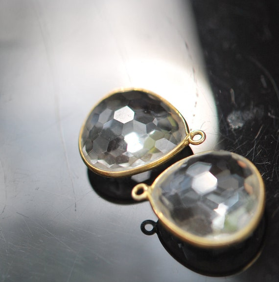 2 matching clear quartz ball faceted pendants 20.00 ON SALE 18.00