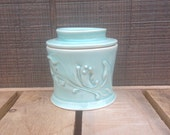 Teal with blue glass French Butter Crock