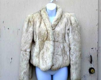 VIntage Seventies Cream Colored Rabbit Fur Short Jacket by Split End LTD / Made in Hong Kong Size L