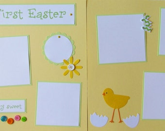 Scrapbook Pages 12x12 premade layout -- MY FIRST EASTER -- GiRL or BoY - BaBy'S 1st EaSTeR, baby's first holidays, first year album