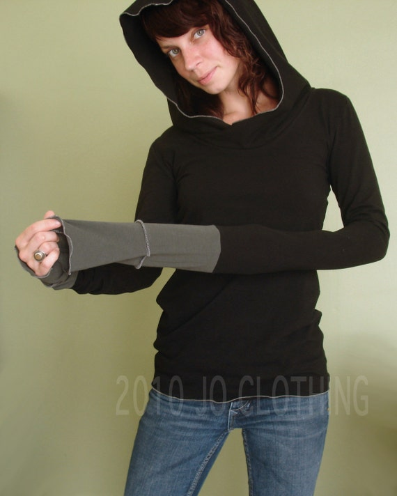 hooded top with extra long sleeves/womens top Black/Cement Grey cuffs
