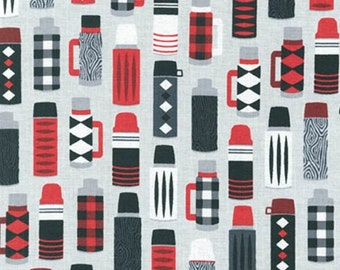 Burly Beavers Fabric, Hipster fabric, Thermos fabric, Gray fabric, Thermos in Steel, Robert Kaufman- Choose the cut. Free Shipping Available