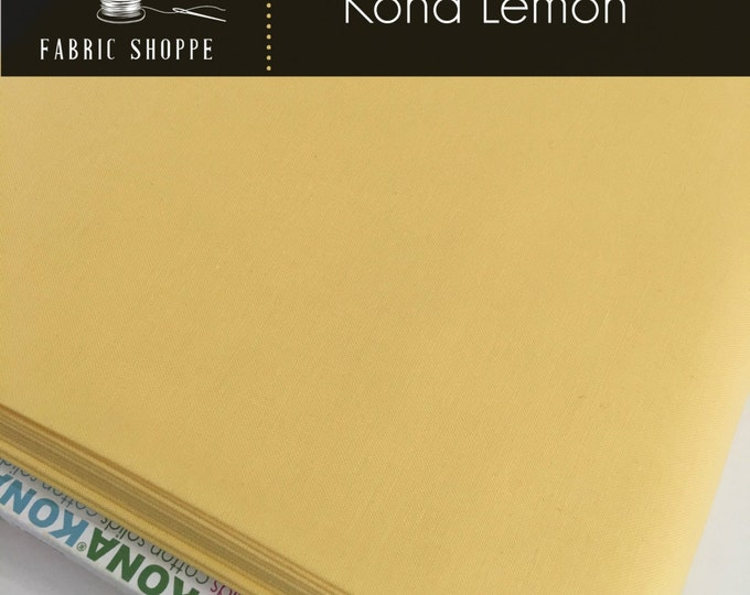 Kona cotton solid quilt fabric, Kona LEMON 23, Kona fabric, Solid fabric Yardage, Kaufman, Yellow fabric, Choose the cut