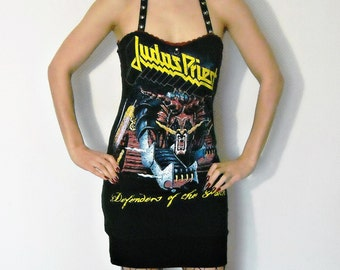 Judas Priest shirt dress Thrash heavy Metal Clothing Rock Lace up alternative apparel reconstructed band tee t-shirt rocker chic dark style
