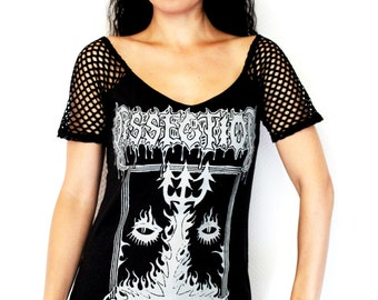 Dissection shirt black metal alternative clothing fishnet sleeves apparel top satanic altered diy reconstructed