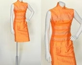 Vintage Mandarin Dress --- 1950s Orange Silk Dress