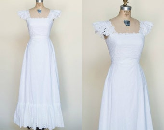 1960s Wedding Dress --- Vintage Maxi Eyelet Dress