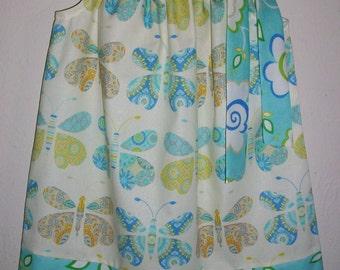 Pillowcase Dress Girls Dress with Butterfly Dress with Flowers Kumari Garden baby dress toddler dress Summer Dress Sister Dresses Blue Dress
