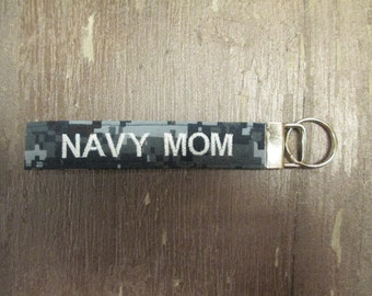 Military Wristlet, Navy Mom Name Tape Key Chain, Navy Mom Military Keychain, Navy Mom Key Fob