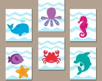 Sea Animals Bathroom Wall Art, CANVAS Or Prints, Under The Sea Animals,  Ocean