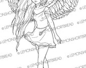 Mini Dress Angel Fairy Digital Stamp, Digi Stamp PNG, Fantasy Art Anime, Adult Coloring Page, Scrapbooking Supplies, Instant download