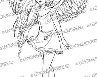 Digital Stamp Mini Dress Angel, Fairy Digi Download, Wings Fantasy Anime Girl, Coloring Page, Clip Art, Scrapbooking Supplies