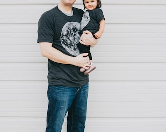 Father's Day Gift - full MOON tshirt set, graphic tees, father son, father daughter, dad and baby, matching shirts, new dad gift, astronomy