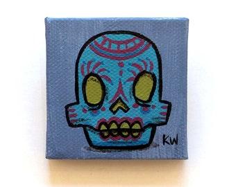 Sugar Skull Painting - Original Tiny Wall Art Acrylic on Canvas - Day of the Dead Skull Art - Dia De Los Muertos Miniature Art