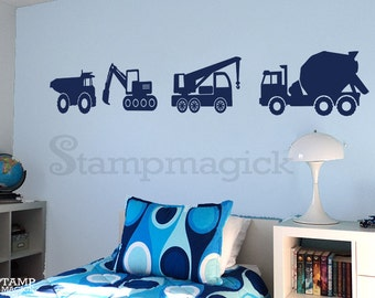 Dump Trucks Wall Decal - Construction Trucks Wall Art Stickers for Nursery Baby Boy home decor - K156B