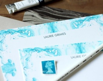 Personalized Luxe Stationery Gift / Flat Notes / Tiled Marble Pattern Aquas - Set (10) / A7 Size / Mother's Day