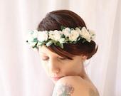 Flower crown, Bridal hair wreath, Ivory flower crown, White rose floral headpiece, Boho bridal crown, Wedding headpiece - OSTARA