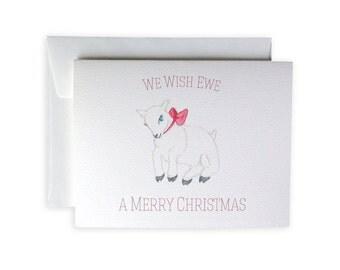 We Wish Ewe A Merry Christmas Greeting Card or Notecard Set