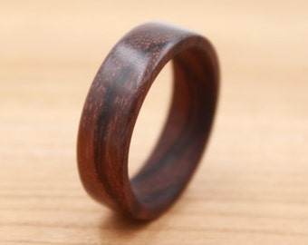 East Indian Rosewood Ring - Custom Wood Ring - Unique Wedding Ring - Natural Jewelry