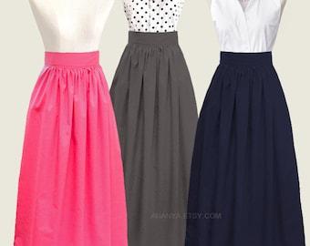 16 colors - floor-length maxi skirt with pockets - custom size, length and color -  long skirt, full length skirt in red, black, green, blue