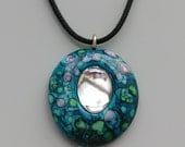 Artisan Pendant Necklace Polymer Clay and Glass Cabochon Monet