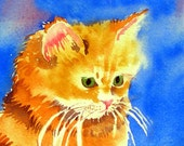 Child Art Persian Cat Art Print / Play room decor / Happy golden kitty / Childrens art kids poster kitten artwork color field blue yellow N