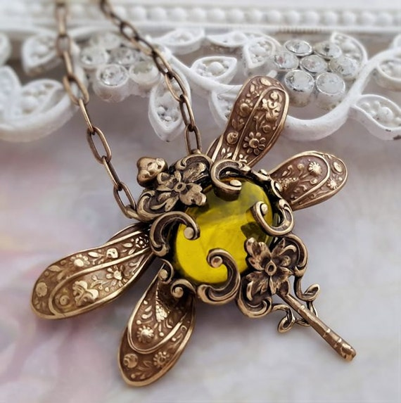 Olive Divine Dragonfly necklace, Dragonfly jewelry,  dragonfly pendant necklace, statement necklace, bug jewelry, bronze necklace, Victorian