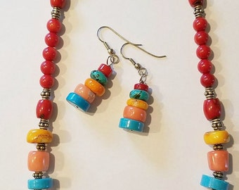 Multi-Colored Coral and Turquoise with Bali silver beaded necklace and earrings set