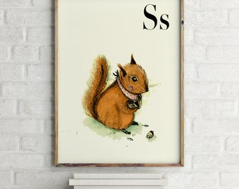 Squirrel print, nursery animal print, woodland nursery, alphabet letters, abc letters, alphabet print, animals prints for nursery