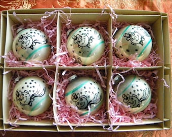 Box of 6 Vintage Shiny Brite Snowman Glass Ornaments with Turquoise Stripes