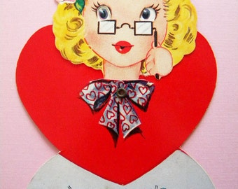 Vintage Valentine's Day Card Prim Lady with Eye Glasses Mechanical