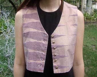 Vintage Handmade Girl's Geo Cropped Vest XS