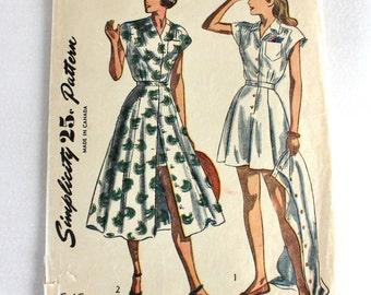 "1940s Sewing Pattern / Simplicity 2444 / 1940s Romper Playsuit & Dress Pattern / Bust 34"" Waist 28"""