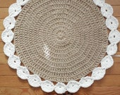 """White and Jute color Cotton Crochet Round Rug with Circles 23"""" READY to SHIP"""